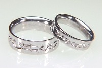 14Kt white gold reverse etch custom initial wedding rings