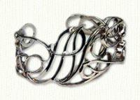 Sterling silver monograms cuff bracelet -Monogram bracelets & Initial bracelets