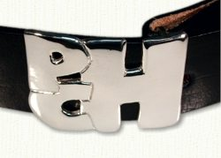 Monogram Belt Buckle in sterling silver