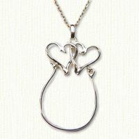 14KY double heart charm holder