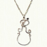 14KY monogram charm holder letter R - initial charm holder