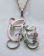 Tri-color triple monogram pendant with 3 birthstones