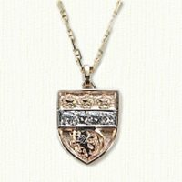 14KY Custom Family Crest Pendant with 4 Diamonds