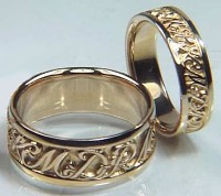 14KY custom initial wedding bands, regular etch