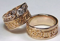 Custom 14KY regular etched names wedding band