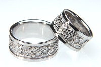 14kt white gold custom initial wedding bands with symbols