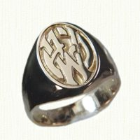 14KY oval custom signet ring A J W