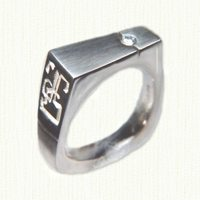 14KW custom signet ring with diamond