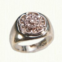 Custom two tone signet ring with floral motif