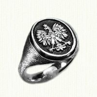 Sterling Silver Polish Eagle Signet Ring