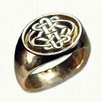 14KY custom celtic style signet ring