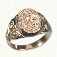 14KY Signet Ring 1523 with photoetched initials